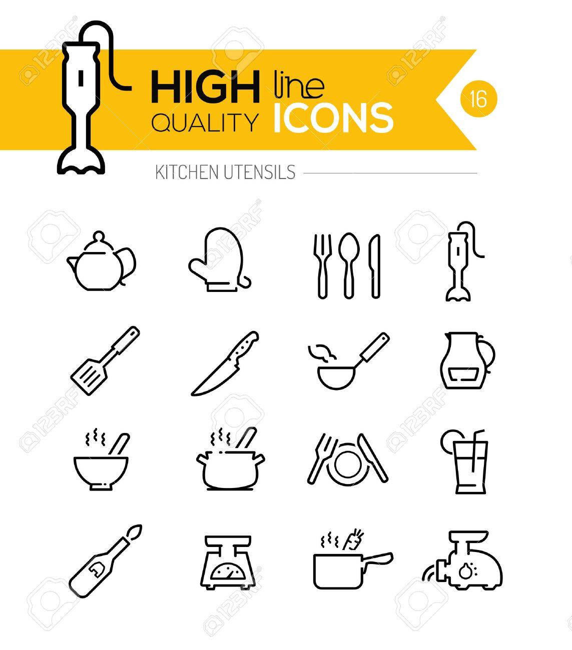 Kitchen Utensils line icons including, cookers, appliances, tools etc.. - 39090734