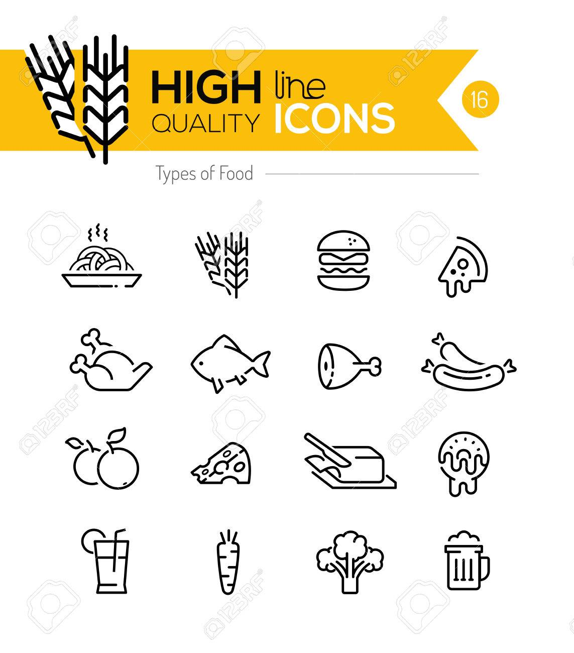 Types of Food line Icons including: meat, grain, dairy etc.. - 39090748