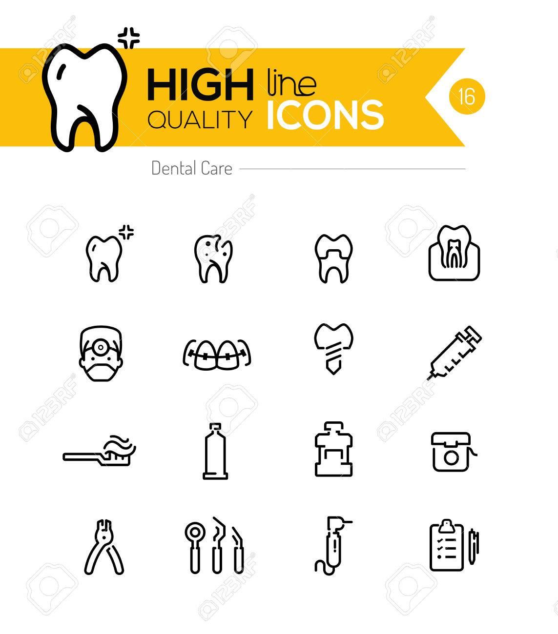 Dental Care line icons series - 39332969