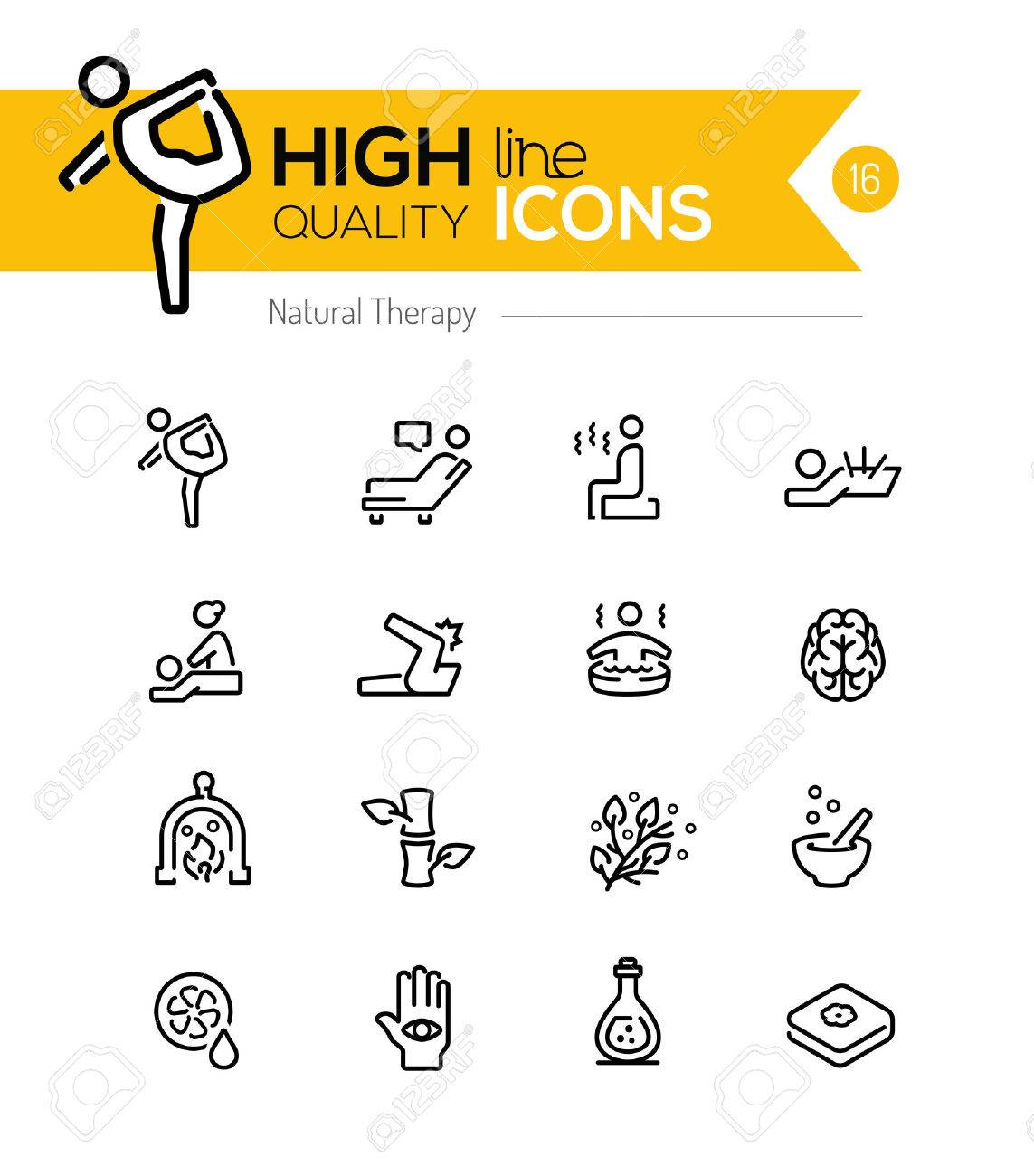 Natural Therapy line icons series - 39332972