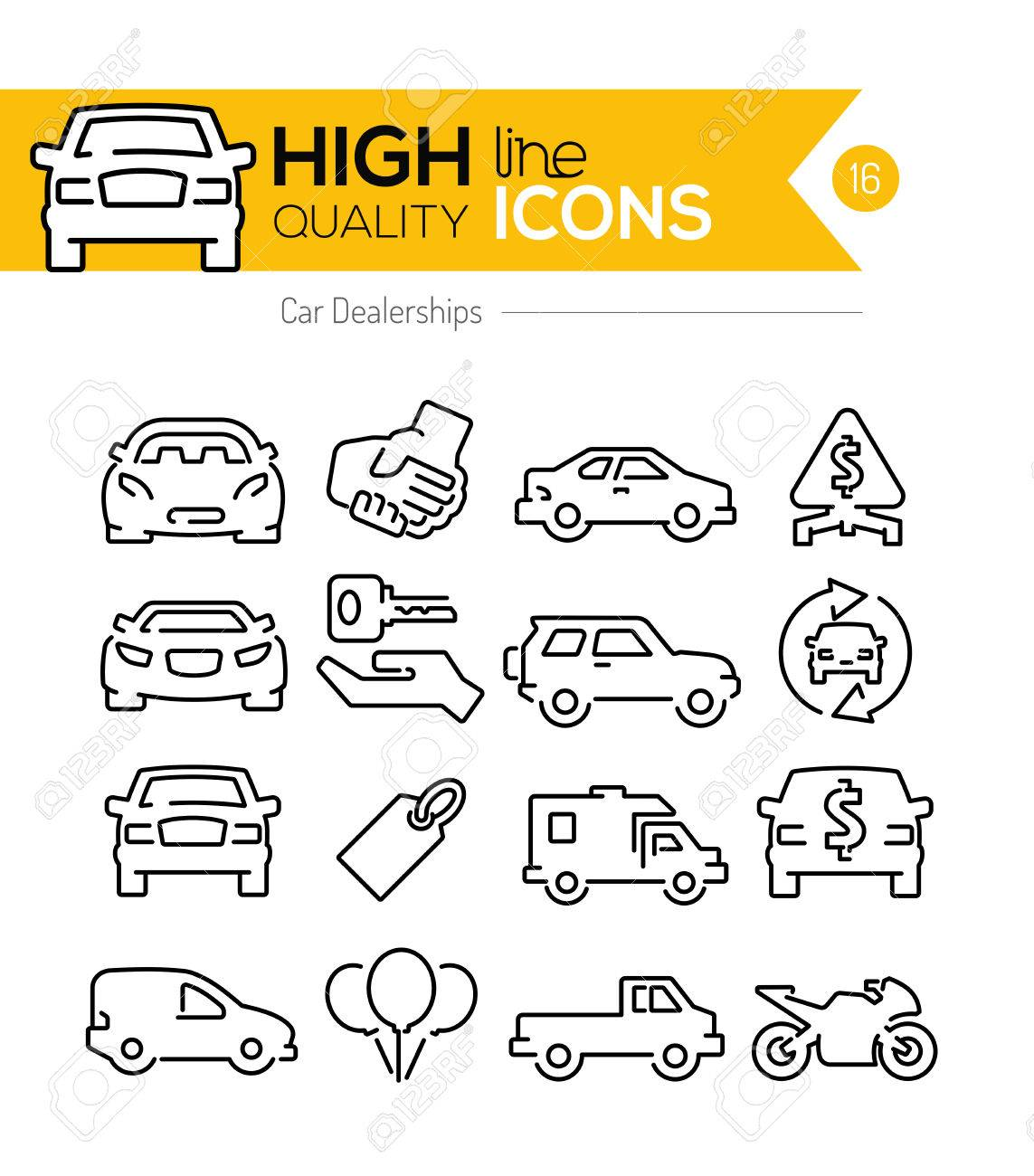 Car Dealerships line icons - 44085799