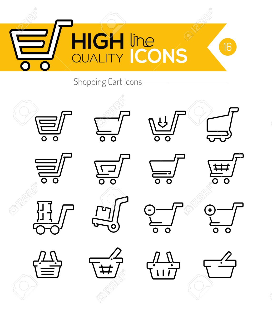 Shopping Carts Line Icons - 44085794