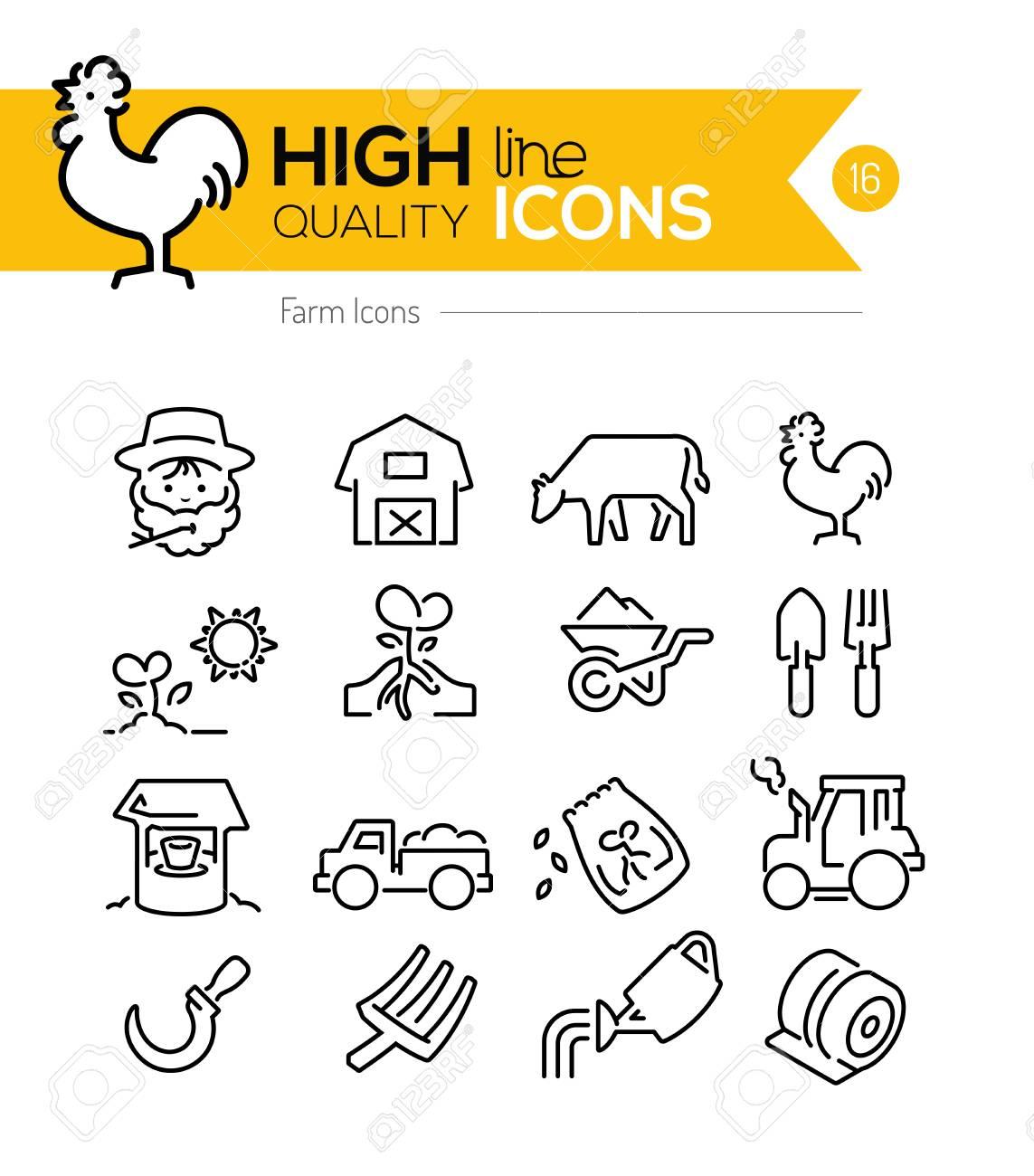Farm Line Icons - 44085851
