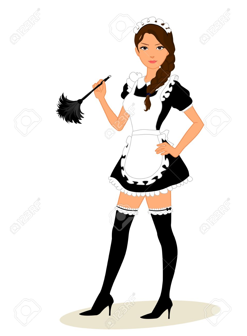 Cute young maid in classic maid dress costume holding a feather duster isolated on white background - 38725346
