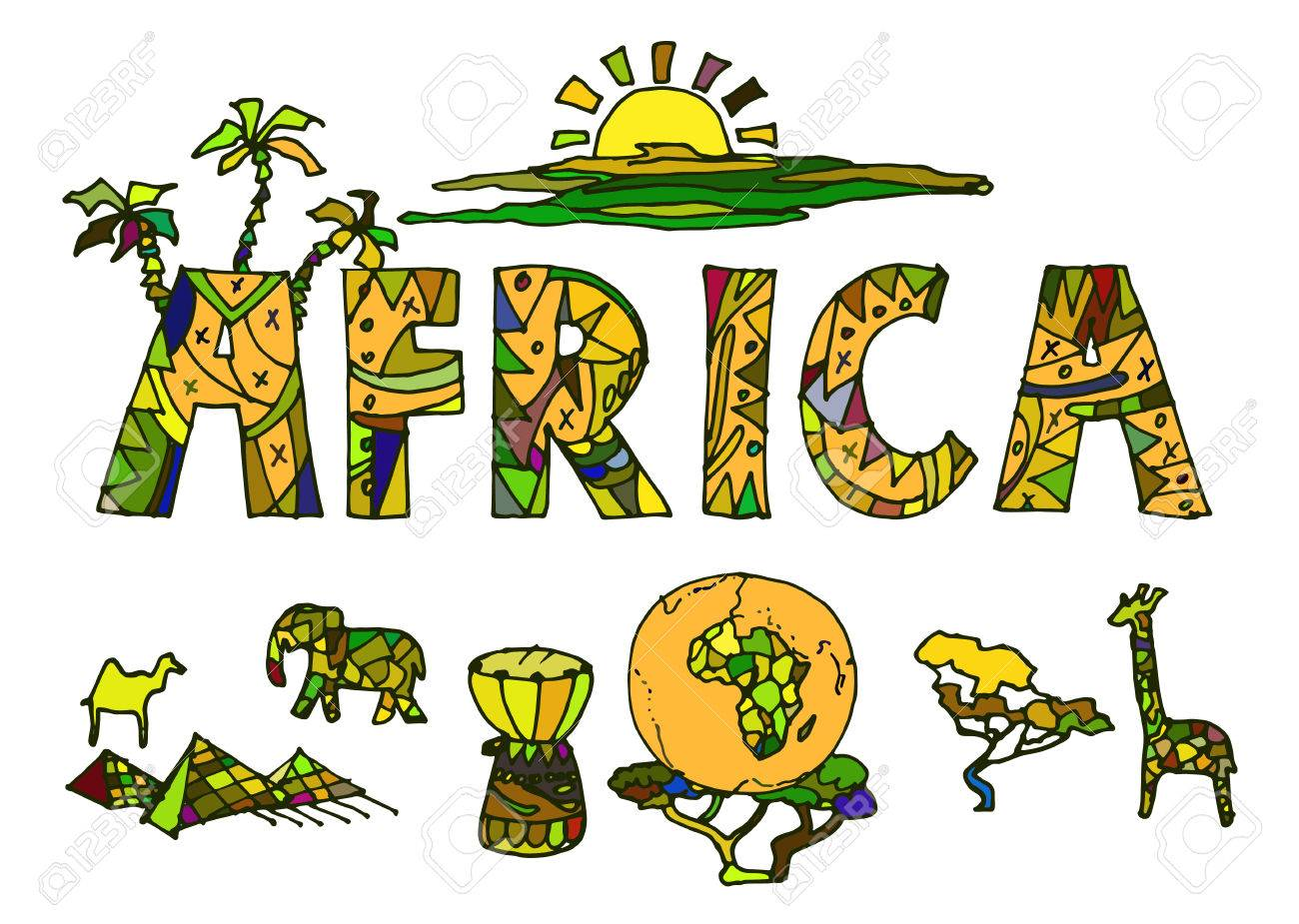 Vector illustration drawn by hand, a set of elements of African ethnic symbols - 38725425