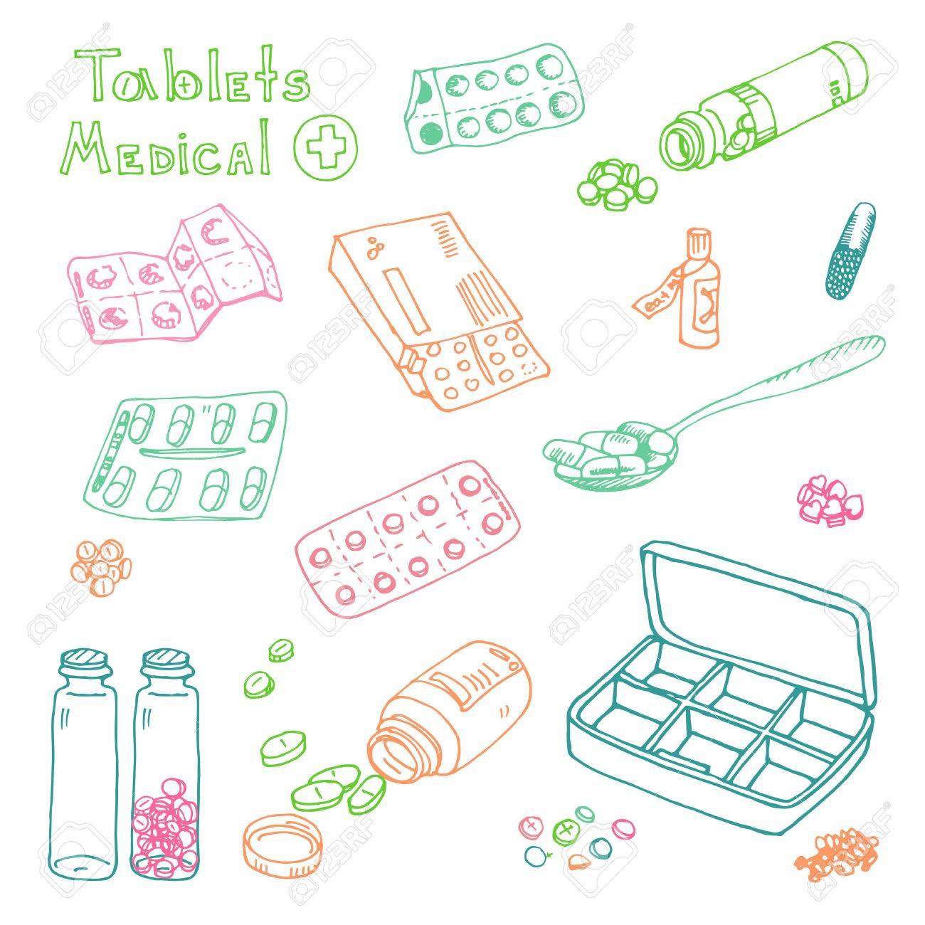 vector Illustration box to receive prescription pills, drugs, medical tablets. Hand drawn - 38725599