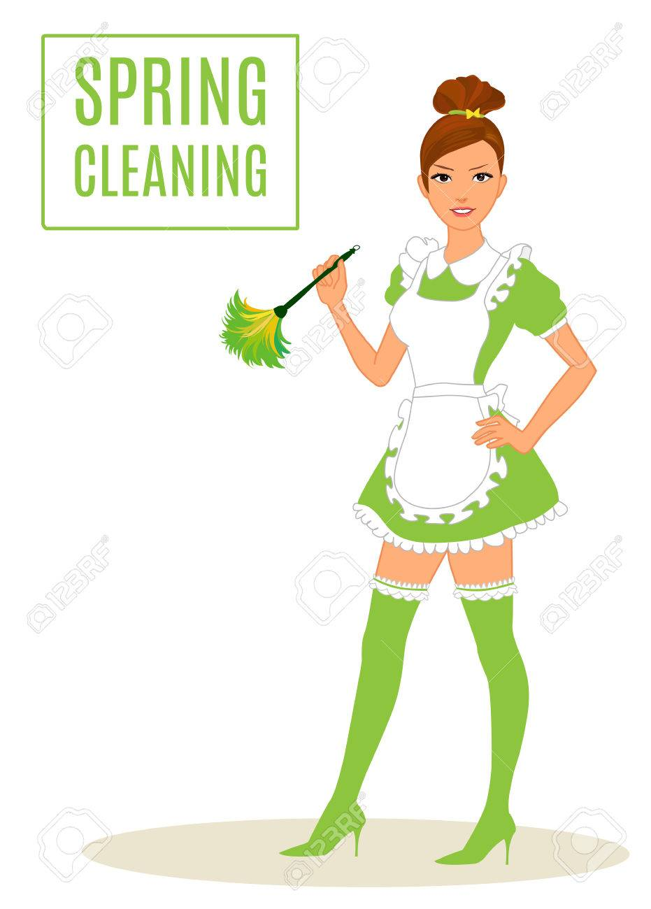 Sexy Maid, Spring Cleaning woman Lady Dusting - 39268745