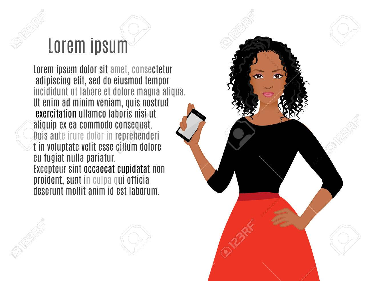 African American girls with mobile phone vector illustration - 39268801