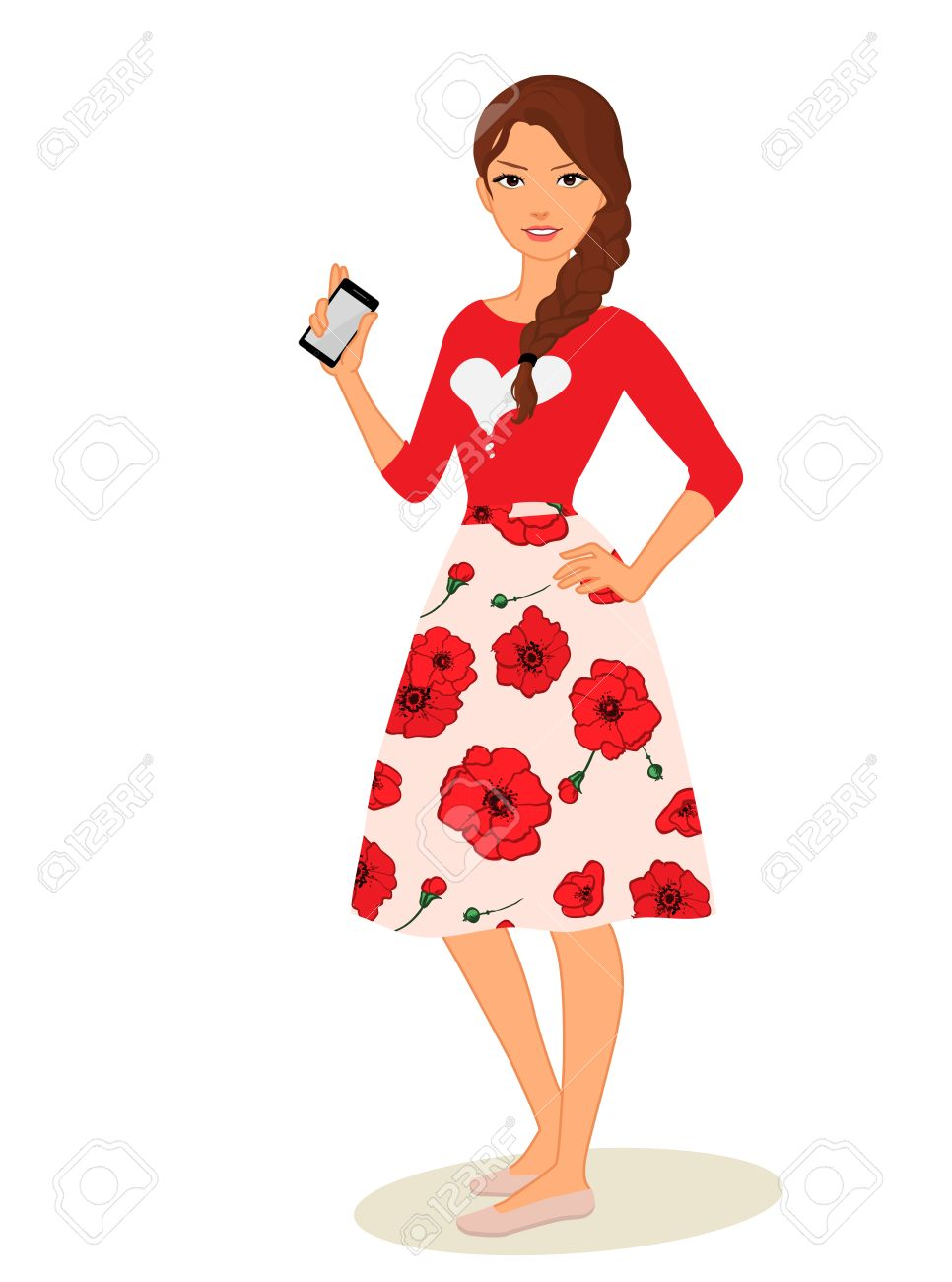 cute cartoon girls with mobile phones vector illustration royalty