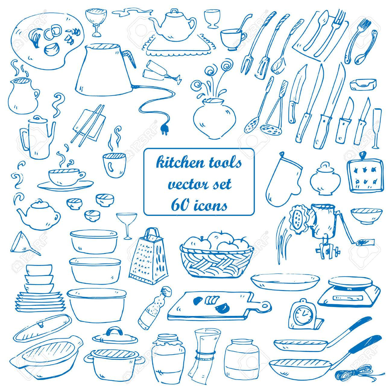 kitchen tools vector doodles collection blue color - 39587150