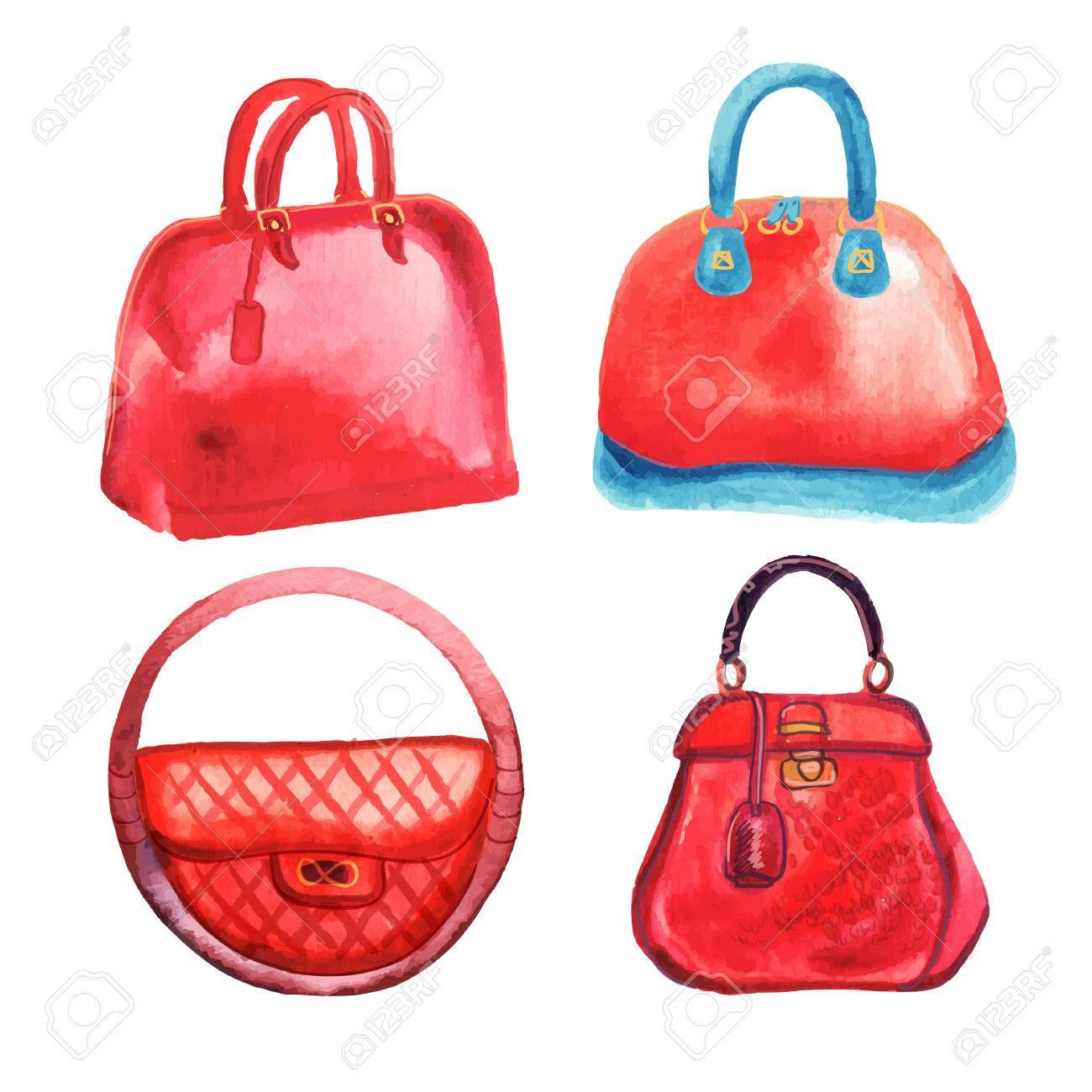 Trendy womens handbags watercolor hand drawn vector illustration - 40527632