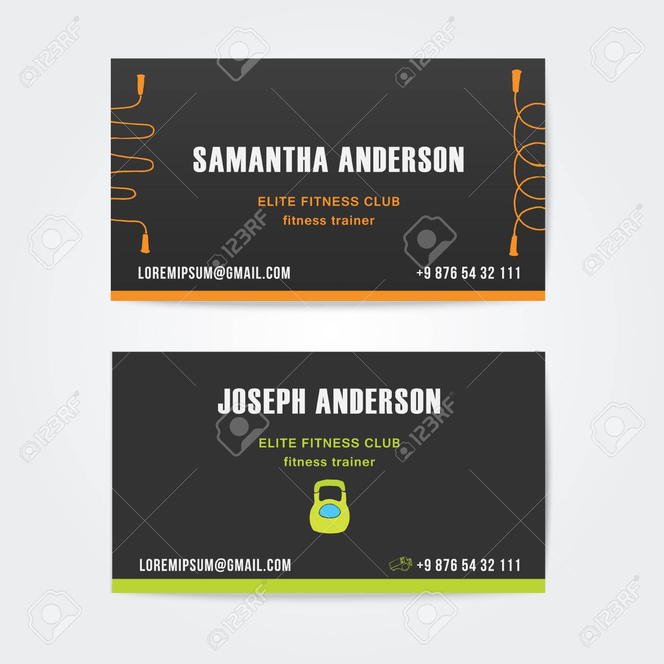 Design Business Cards For Gym And Fitness, Vector Royalty Free ...