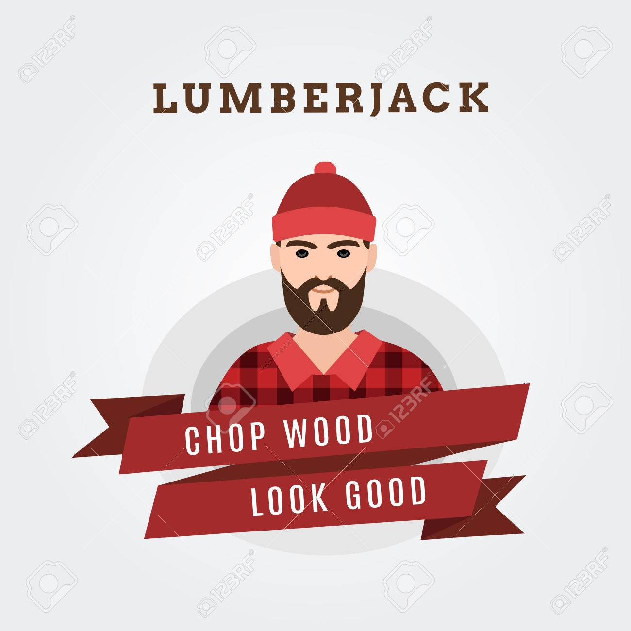 Vector Illustration of a lumberjack forester logger with scroll done in retro style - 40623704