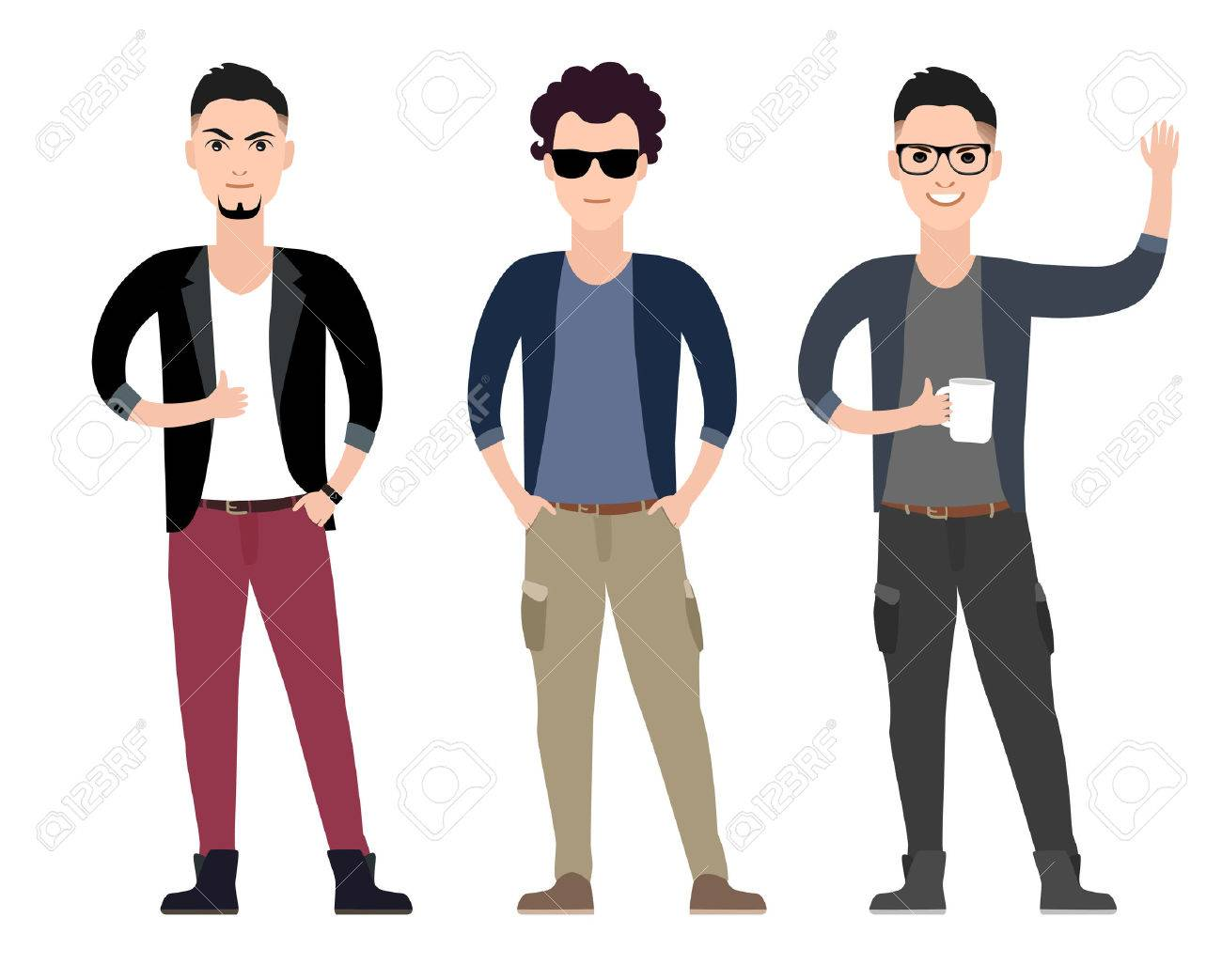 casual young men character flat set in different poses vector