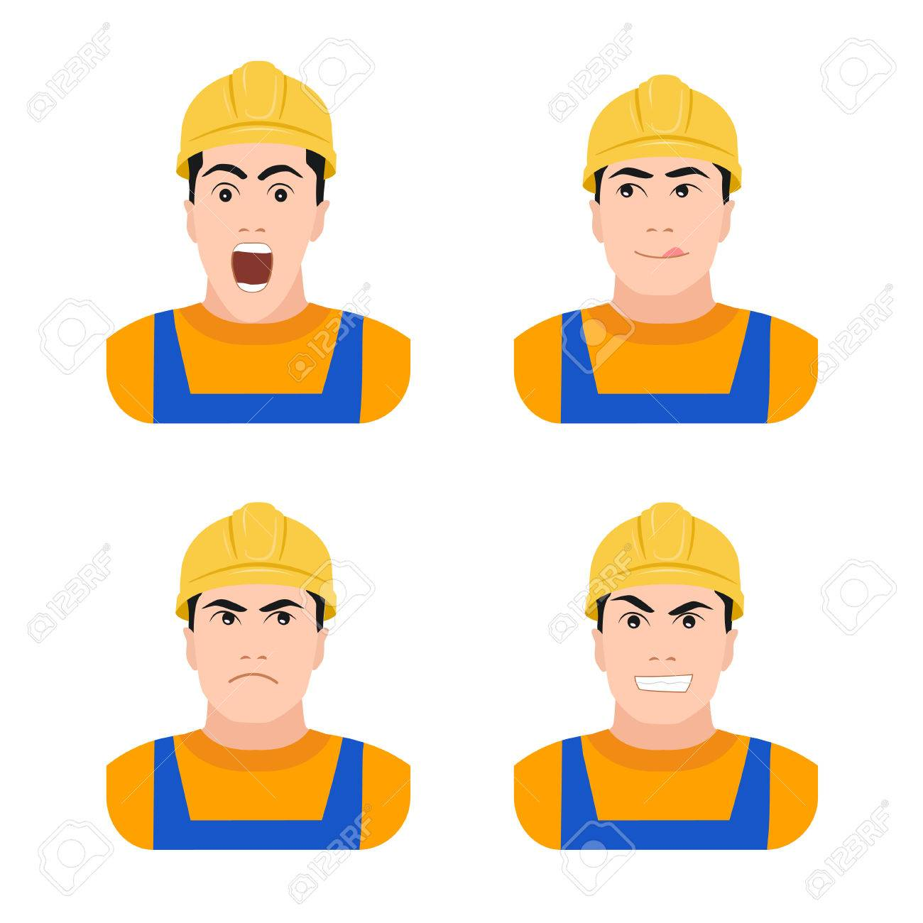 Builder worker at construction different emotions flat vector illustration on a white background, surprise, joy, anger, fear - 41262060