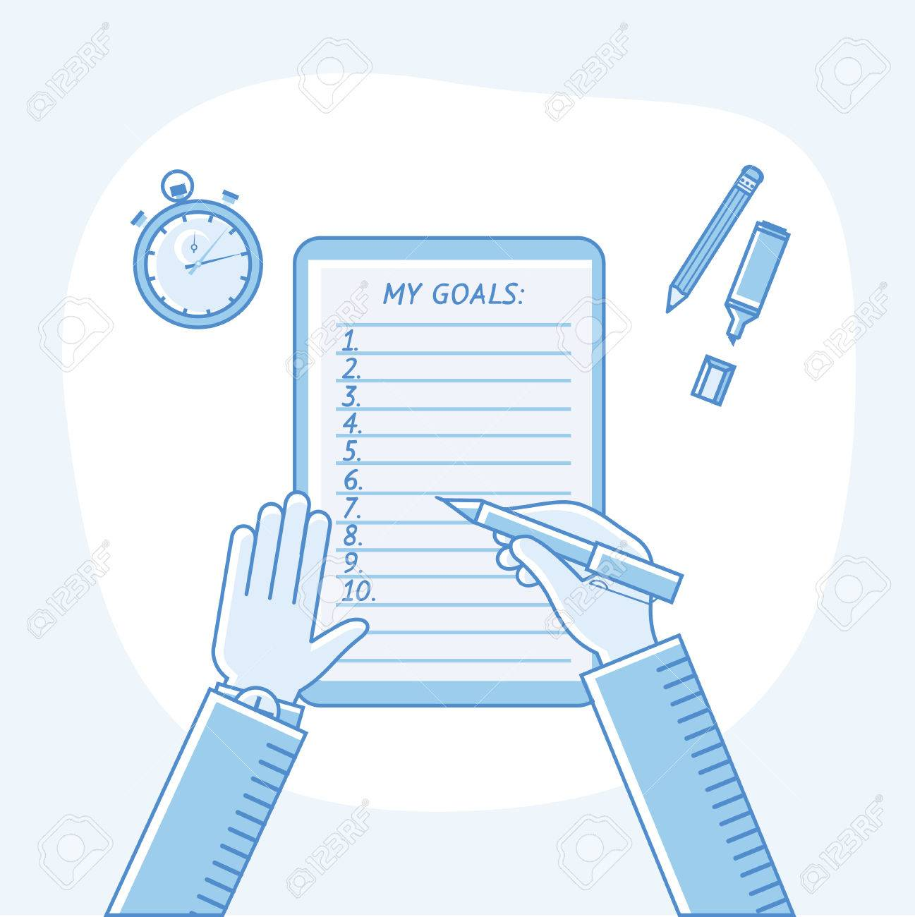 Business goals checklist. Vector flat linear icon. To do list. Top view. Idea - Business planning, my goals, management and company strategy concept. - 41739925