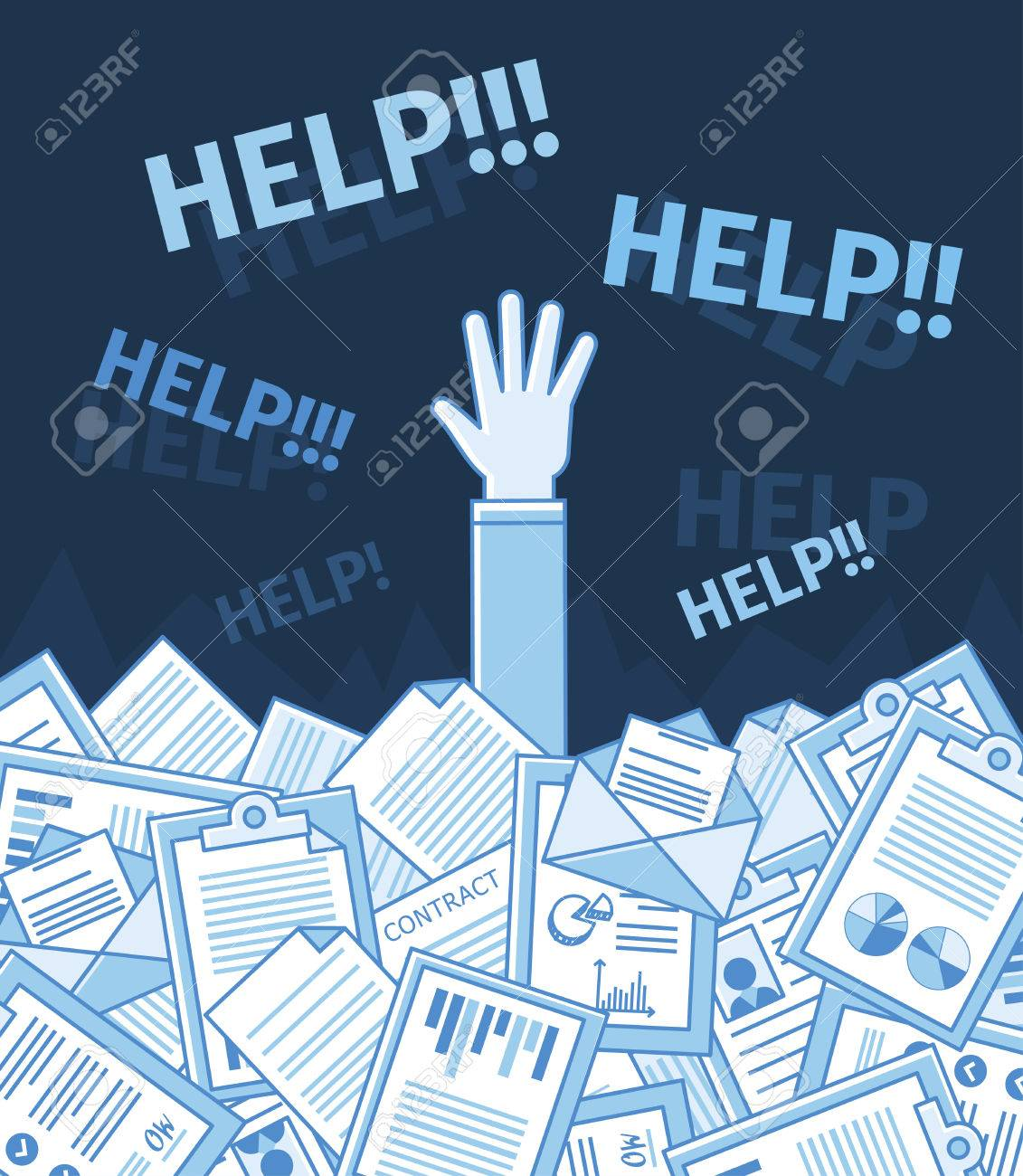 Businessman or student under a lot of document and call for help with his hand raised. Linear flat vector illustration. Education. Blue color - 42137150