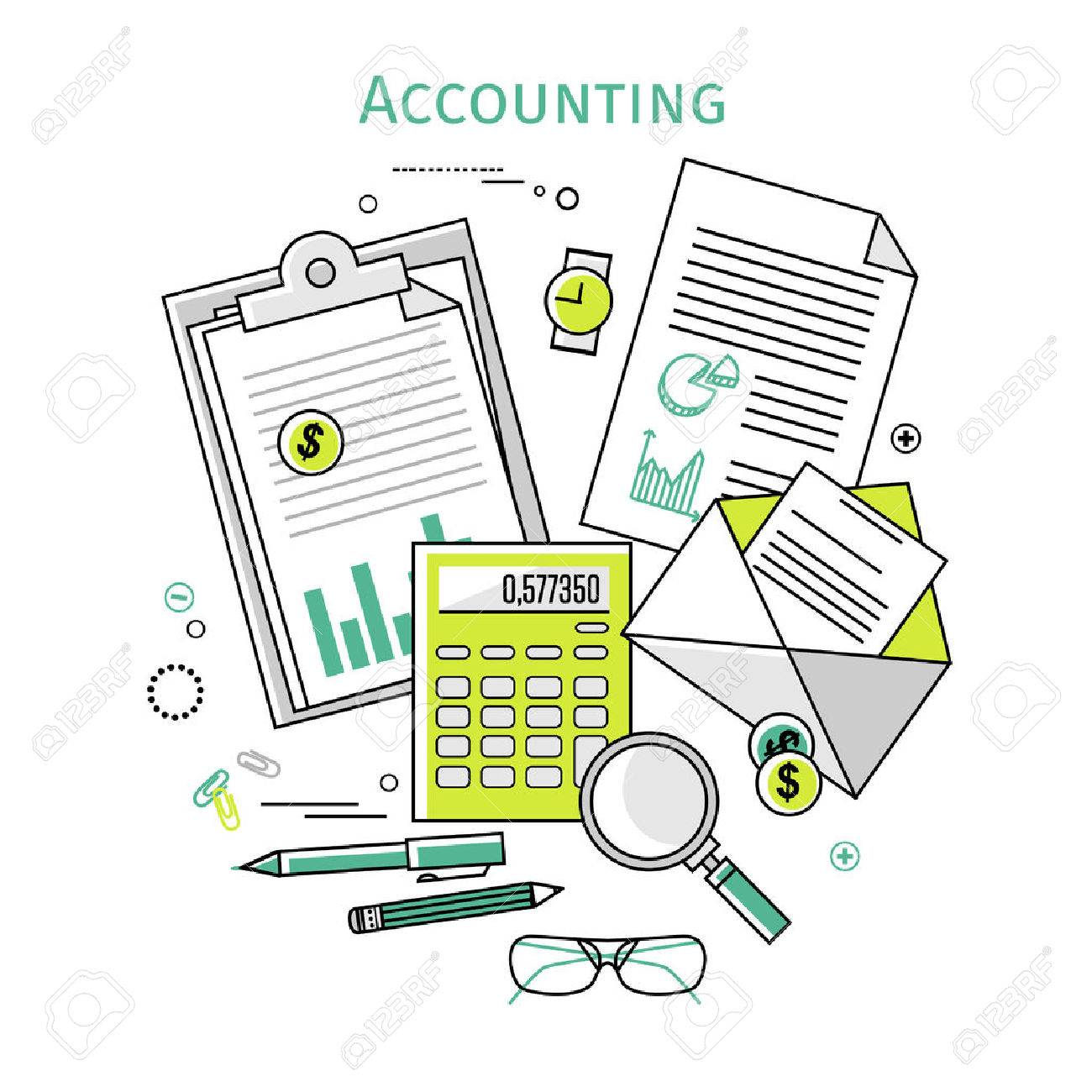 Flat linear vector icons illustration design concepts for business and finance. Top view. Concepts for taxes, finance, bookkeeping, accounting, business, market etc. - 42137151