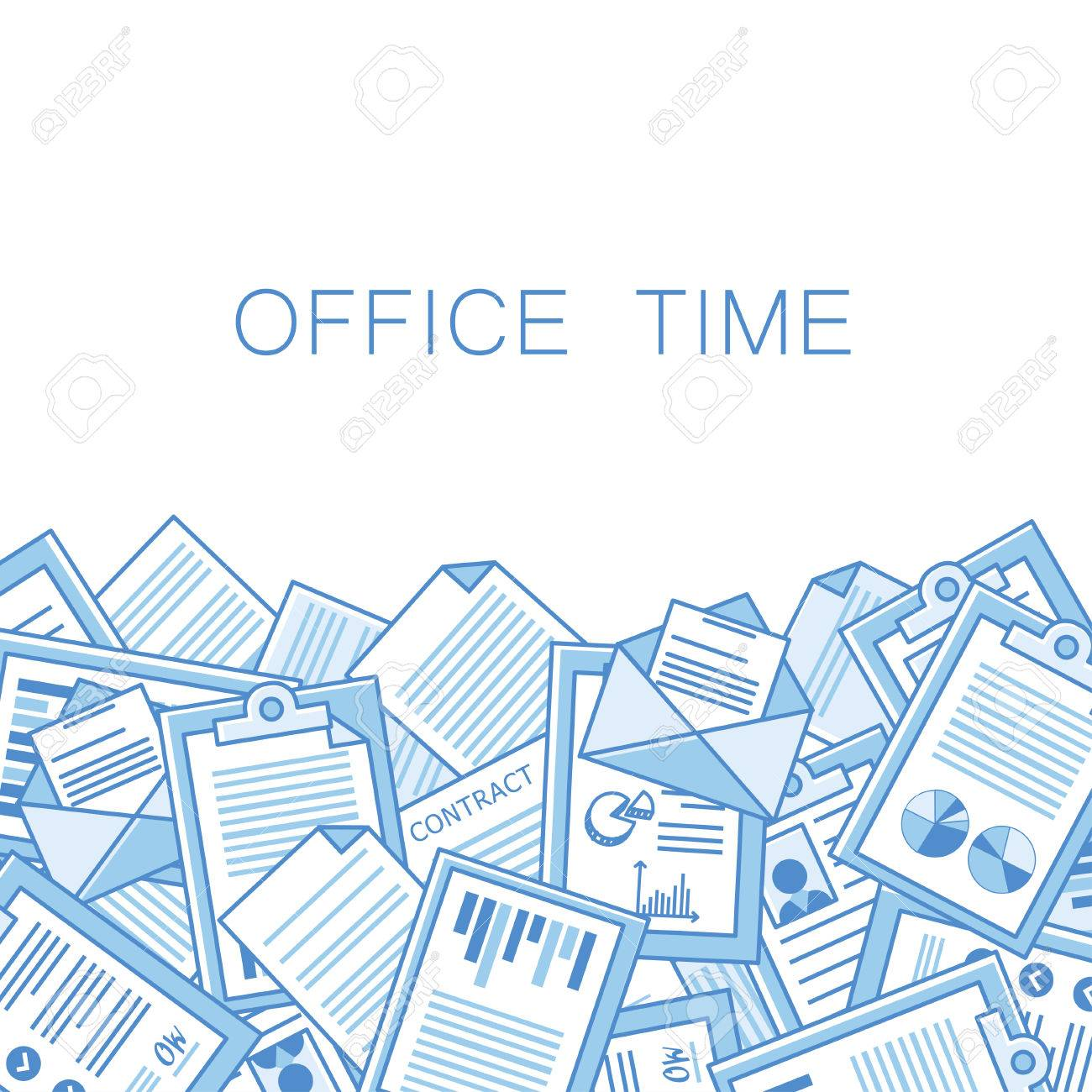 Stressful in office with too many stack of papers, overload of works. vector background With space for text - 42137152