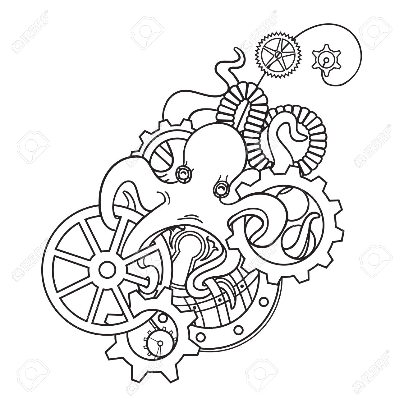the original illustration of steampunk octopus with gears and