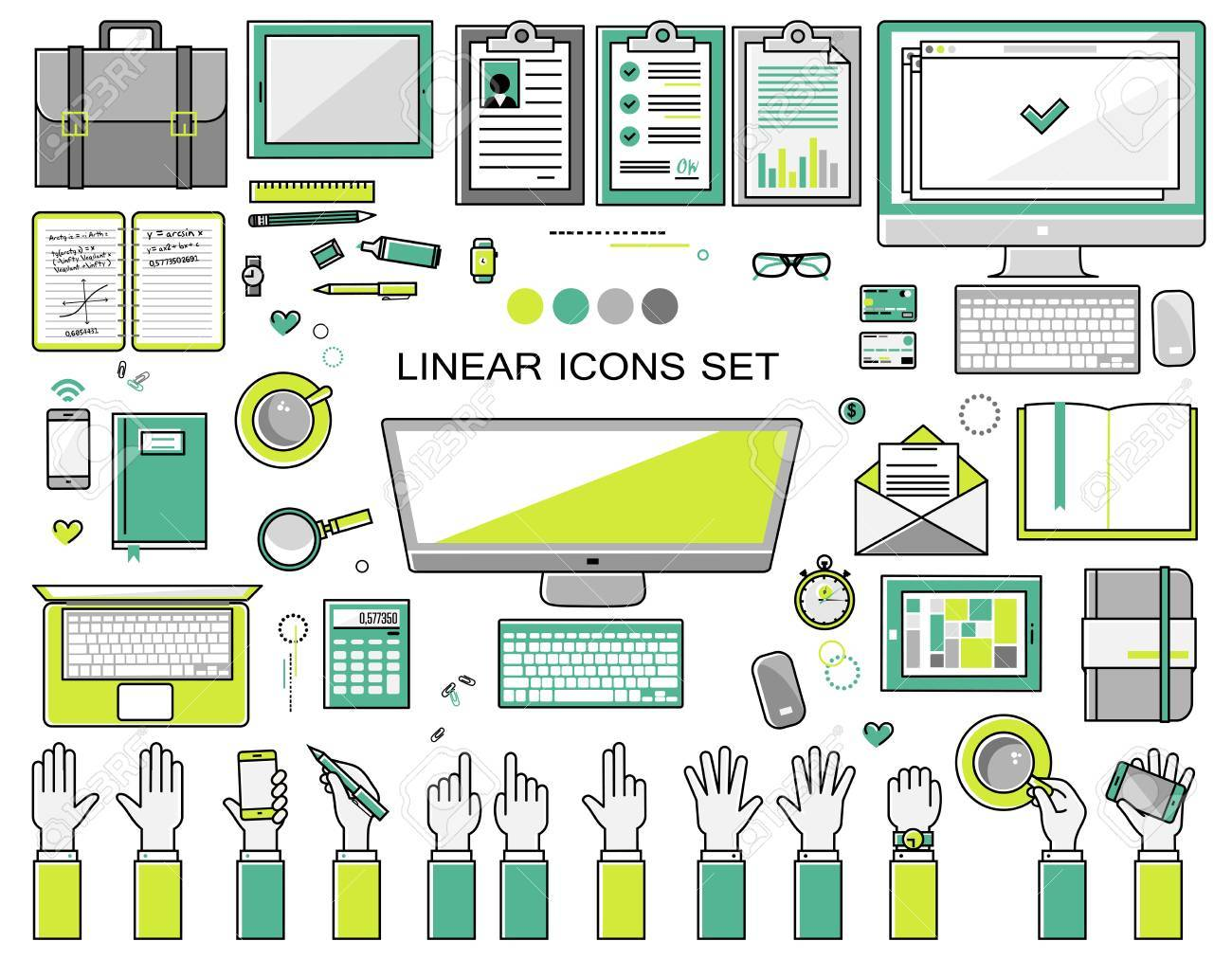 linear workplace icons collection, flat style icons set of a top view, green bright color. Signs hand gestures. Workspace objects elements office worker, designer, manager, schoolchild. Stationery - 48428019