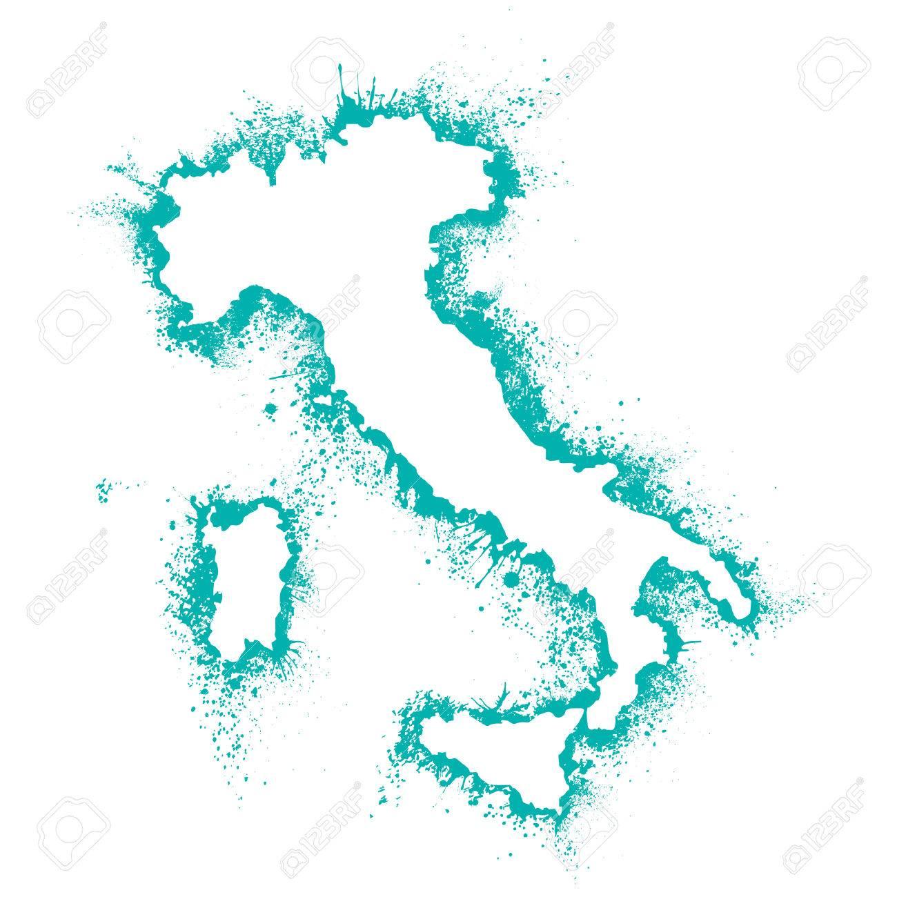 umriss italien karte Italien Karte Im Vektor Format In Der Sprühfarbe, Farbflecken