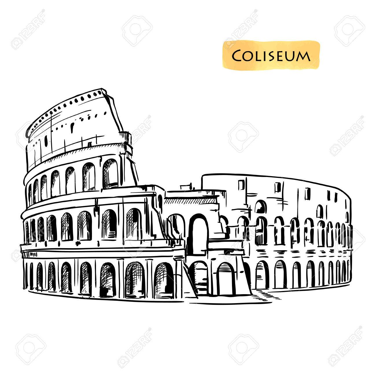 Colosseum hand drawn vector illustration isolated over white background sketch - 50774133