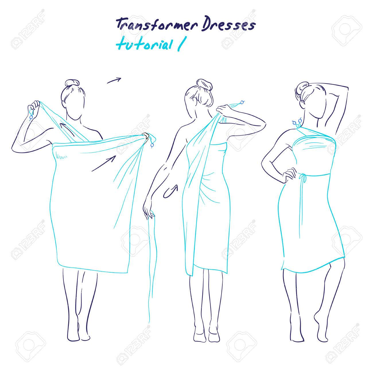 Transformer dresses women clothes and accessories, hand drawn