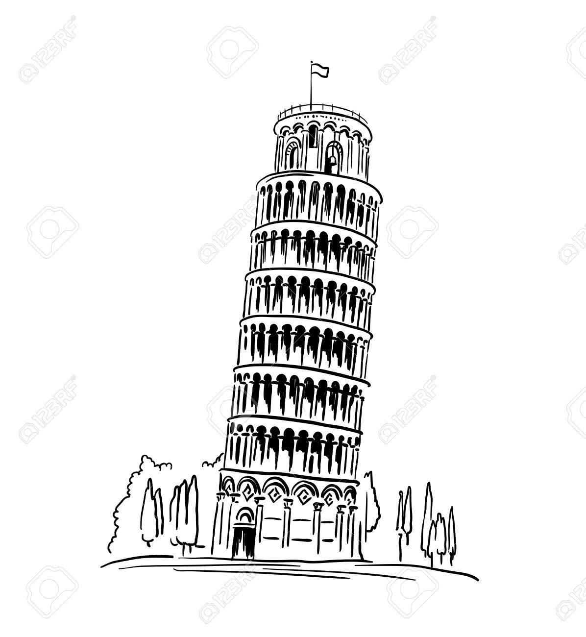 Italian landmark Piza Tower , Italy. illustration, travel concept - 52735511