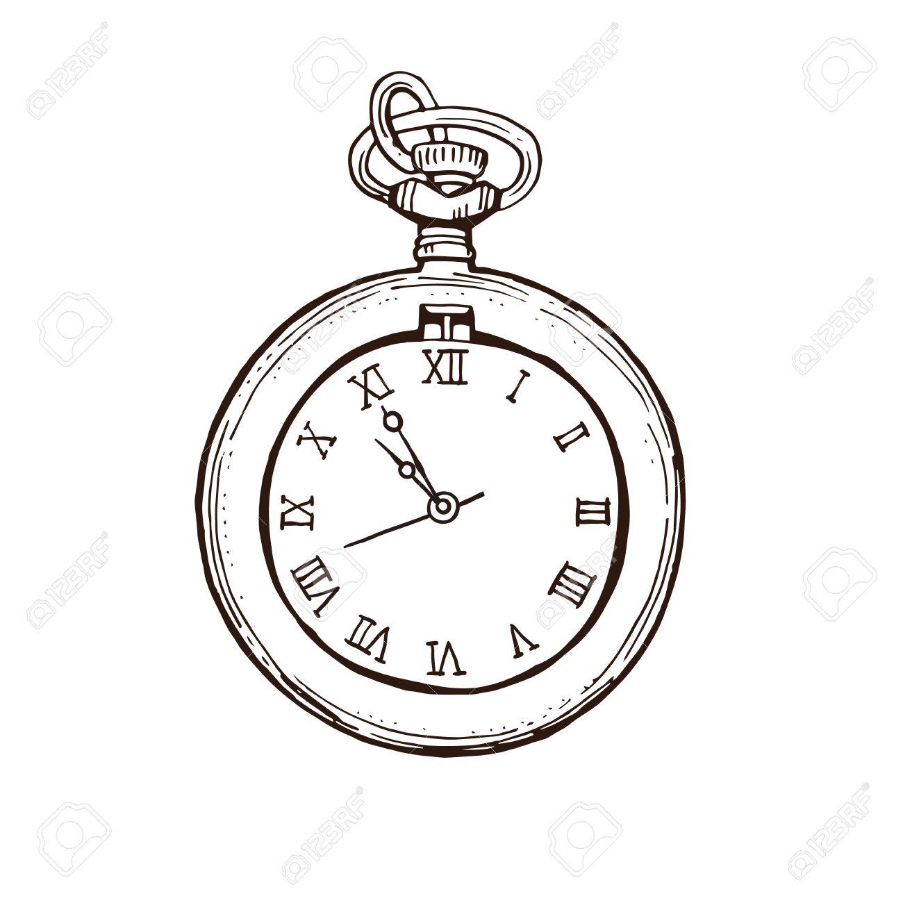 Armbanduhr gezeichnet  Offene Taschenuhr In Vintage-Stil. Hand Gezeichnet Tinte Skizze ...