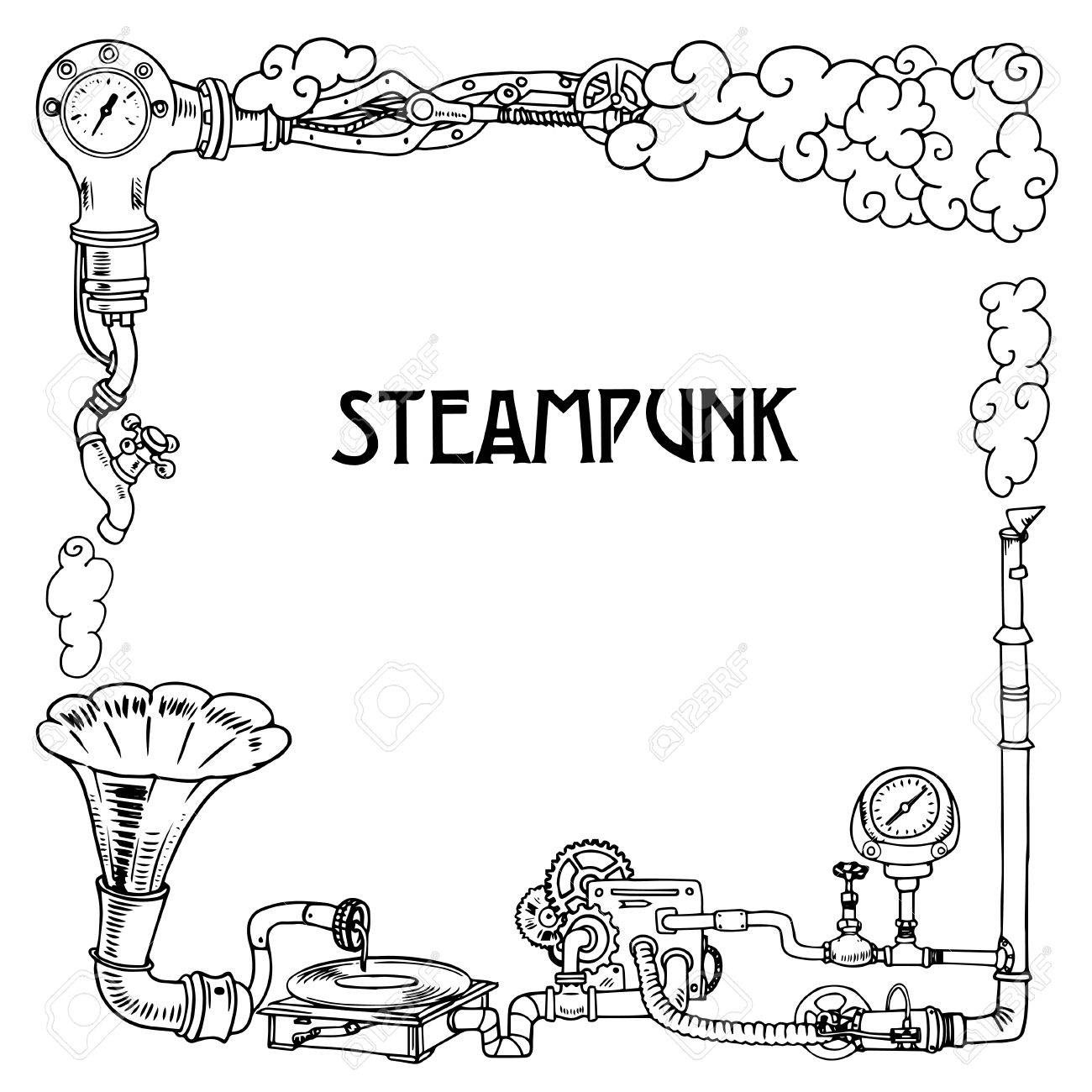 Steampunk frame with industrial machines gears chains, gramophone and technical elements, illustration - 55077358