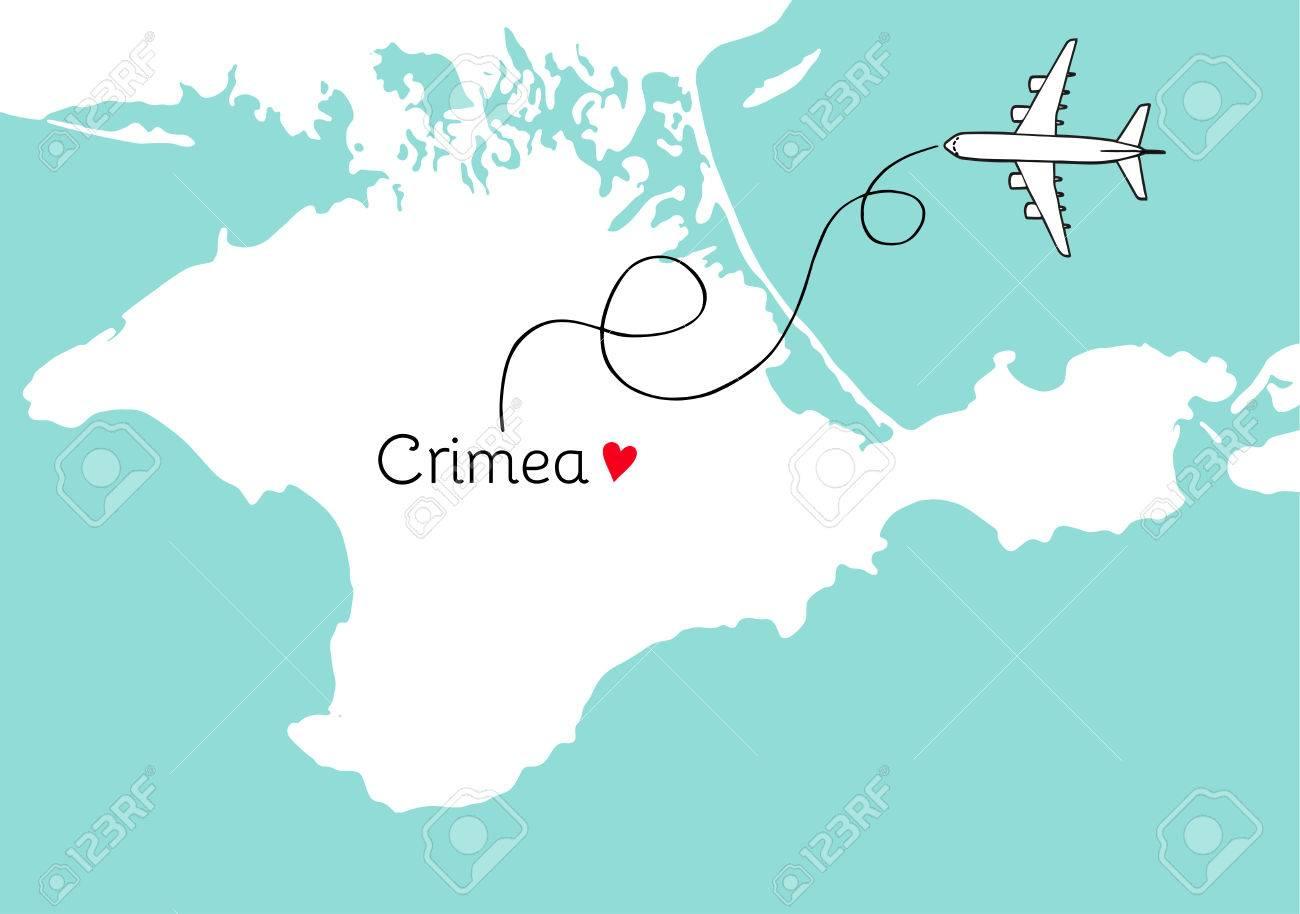 Autonomous republic of crimea map postcard design vector crimea autonomous republic of crimea map postcard design vector crimea map poster or card with plane gumiabroncs Choice Image