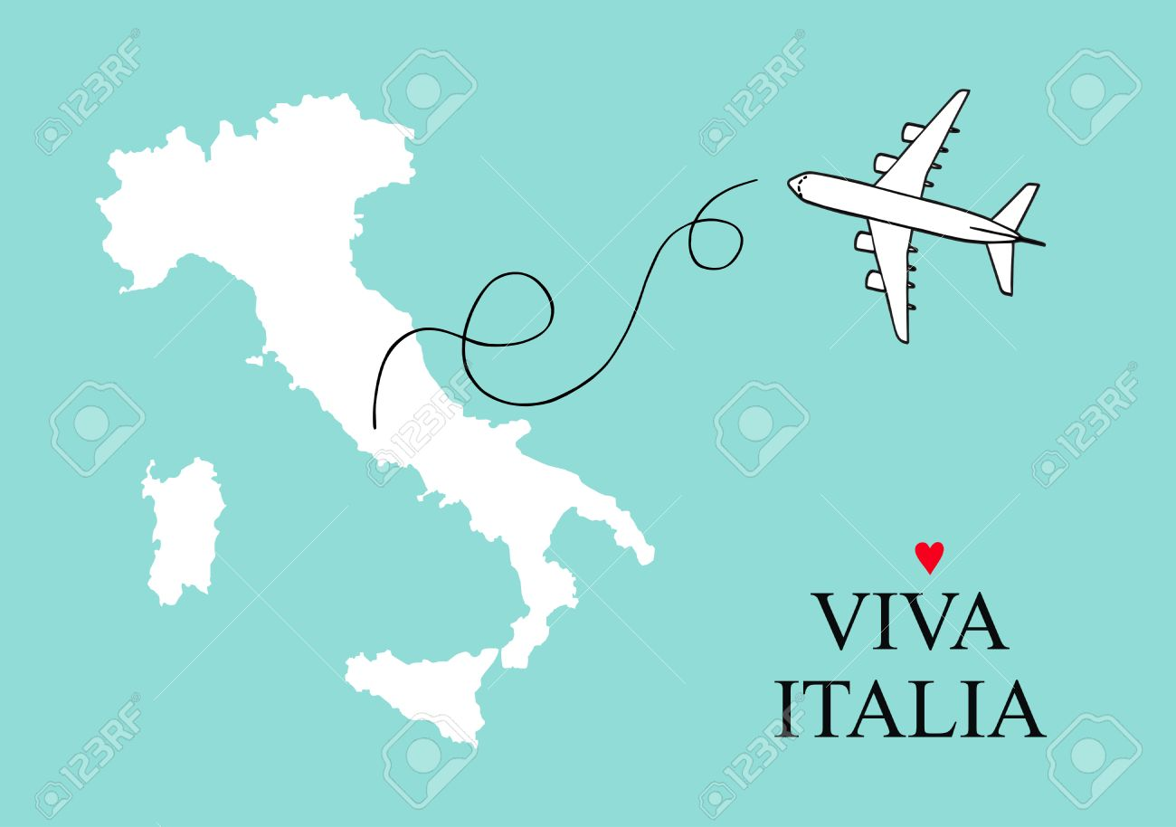 Italy map postcard design vector, Italy and Sicily map poster or card with plane outline on a blue background - 57486332