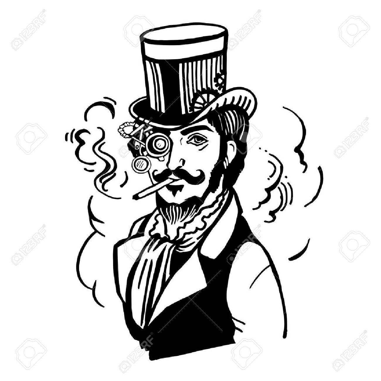 Steampunk man in top hat and glasses with the beard and moustache and a smoking cigarette - 59134391
