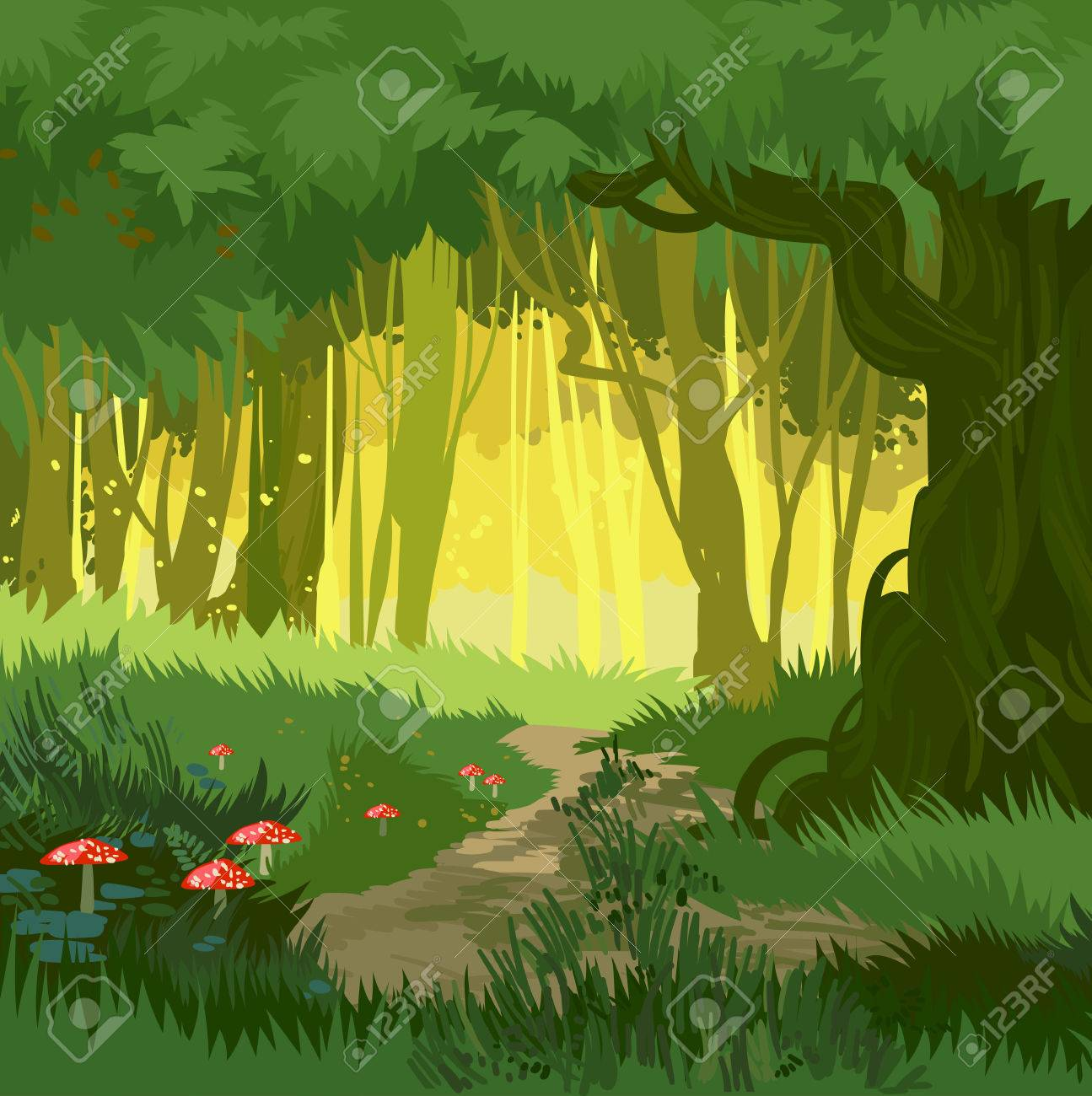 Fabulous bright green summer forest vector background jungle with toadstool and mushrooms and forest path cartoon style - 82815386