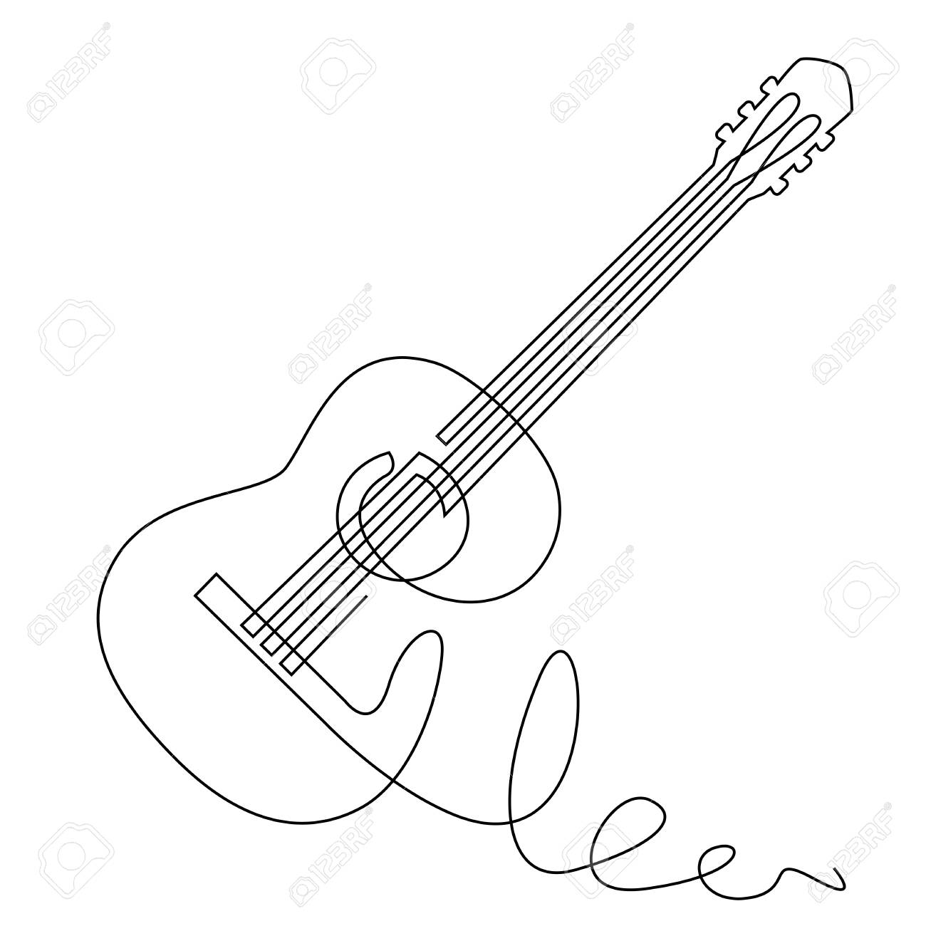 Continuous Line Drawing Of Acoustic Guitar Vector Musical