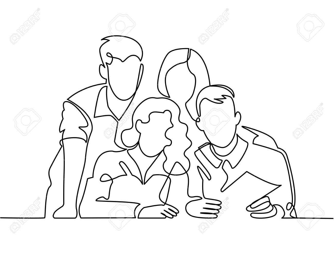 Continuous line drawing of business team or united family - 100084000