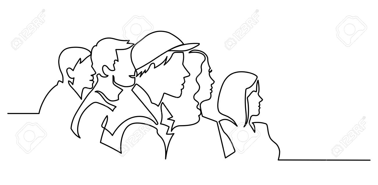 Continuous Line Drawing of Vector illustration character of audience in the conference hall background with blank space for your text and design. Outline, thin line art, hand drawn sketch. - 110081922