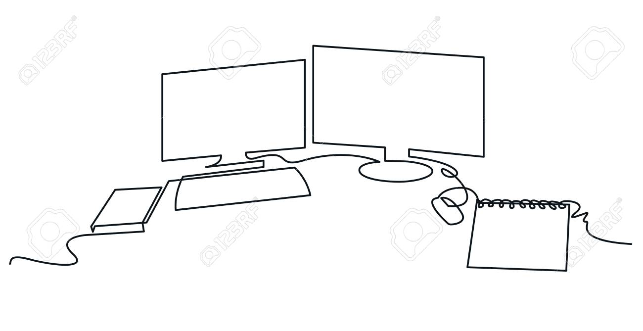 Modern workspace continuous one line vector drawing. Desktop hand drawn silhouette. Two computer monitors with keyboard, mouse and notebook. Workplace essentials. Minimalistic contour illustration - 114575352
