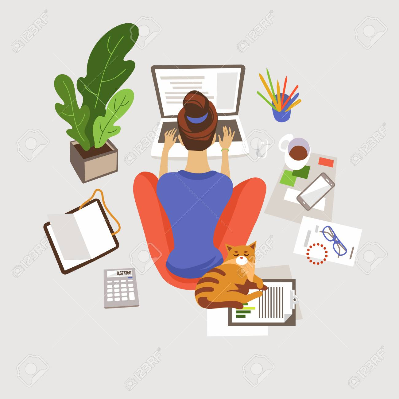 Young woman working, studying at home flat vector illustration. Remote, freelance job. E-learning. Girl sitting on floor and using laptop. Home workspace. Freelancer with cat cartoon character - 126319502