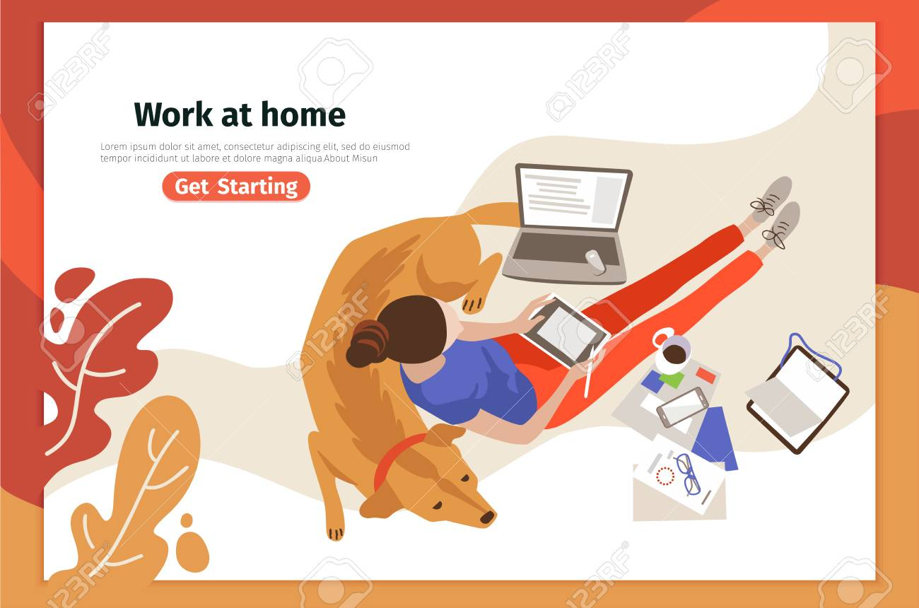 Work At Home Landing Page Vector Template Remote Job Webpage Royalty Free Cliparts Vectors And Stock Illustration Image 125832944