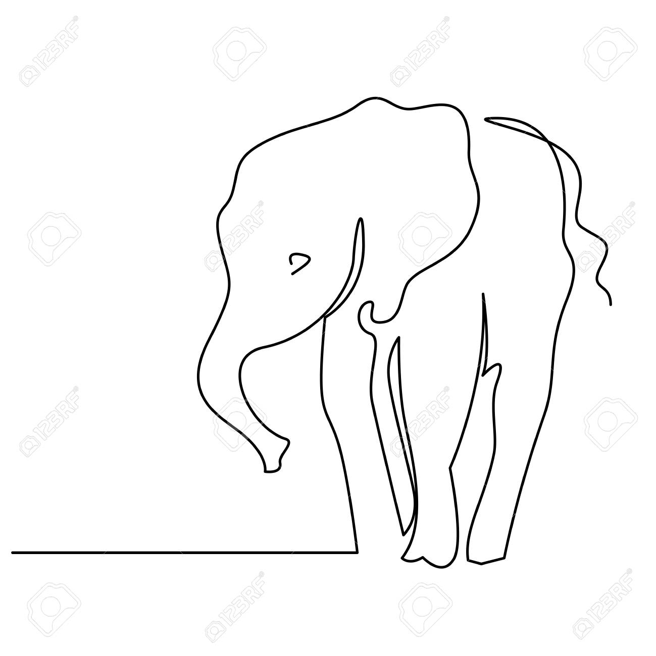 Elephant Continuous One Line Drawings Wild Large Animals Vector Royalty Free Cliparts Vectors And Stock Illustration Image 124610122