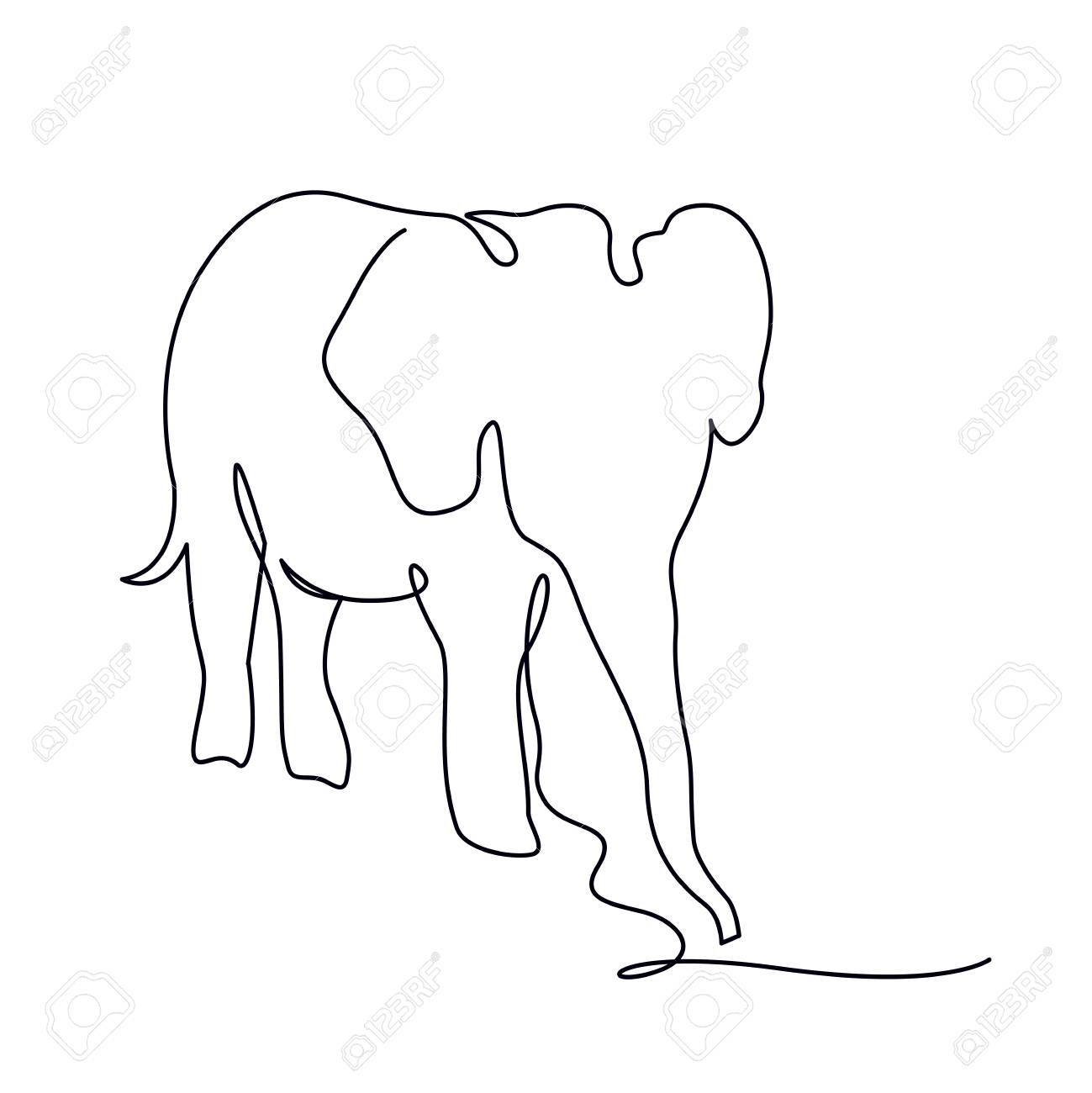 Elephant Continuous One Line Drawings Wild Large Animals Vector Royalty Free Cliparts Vectors And Stock Illustration Image 124610124