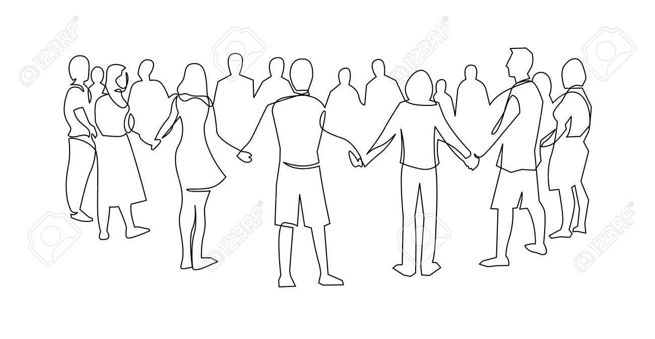 Unity, friendship continuous single line drawing. People, friends holding hands together. Community cooperation, society connection. Support, teamwork, round dance. Hand drawn outline illustration - 122940673