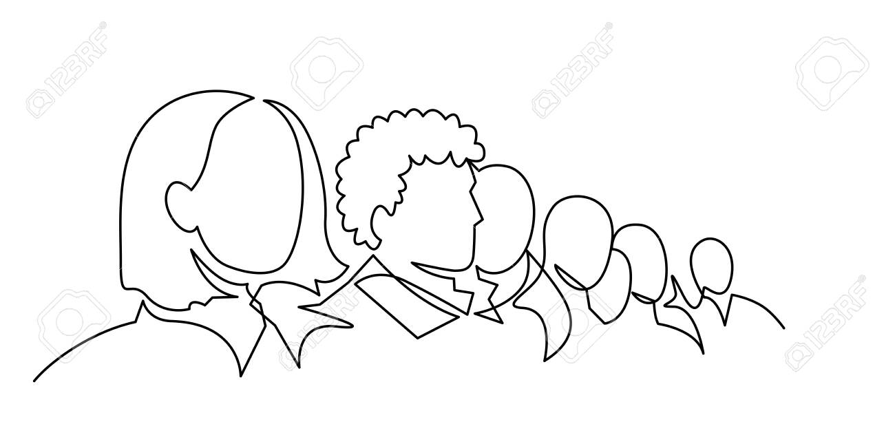 Group of people continuous one line vector drawing. Crowd standing at concert, meeting. - 132706405