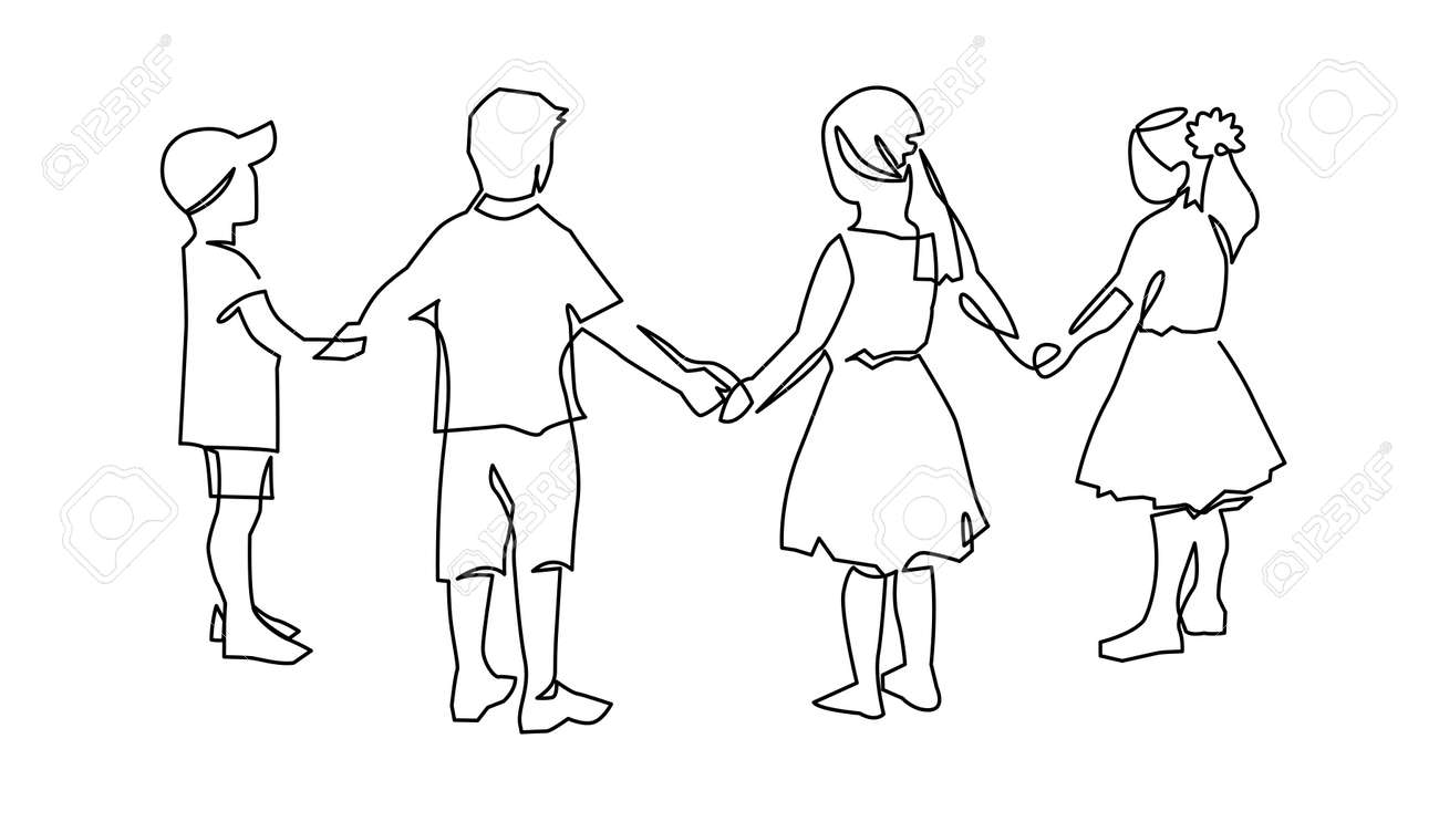 Group of young children holding hands continuous one line drawing. Kindergarten friendships concept. Happy cute kids in unity. - 158399676