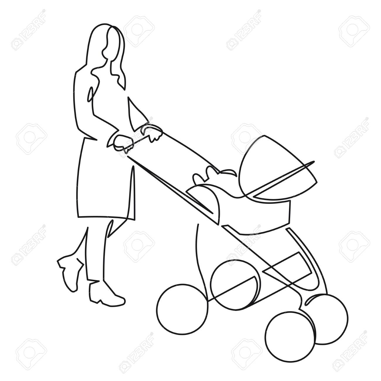 Continuous one line drawing of mom with a toddler in a stroller drawn by hand vector illustration. Mother with a baby on a walk. - 158275280