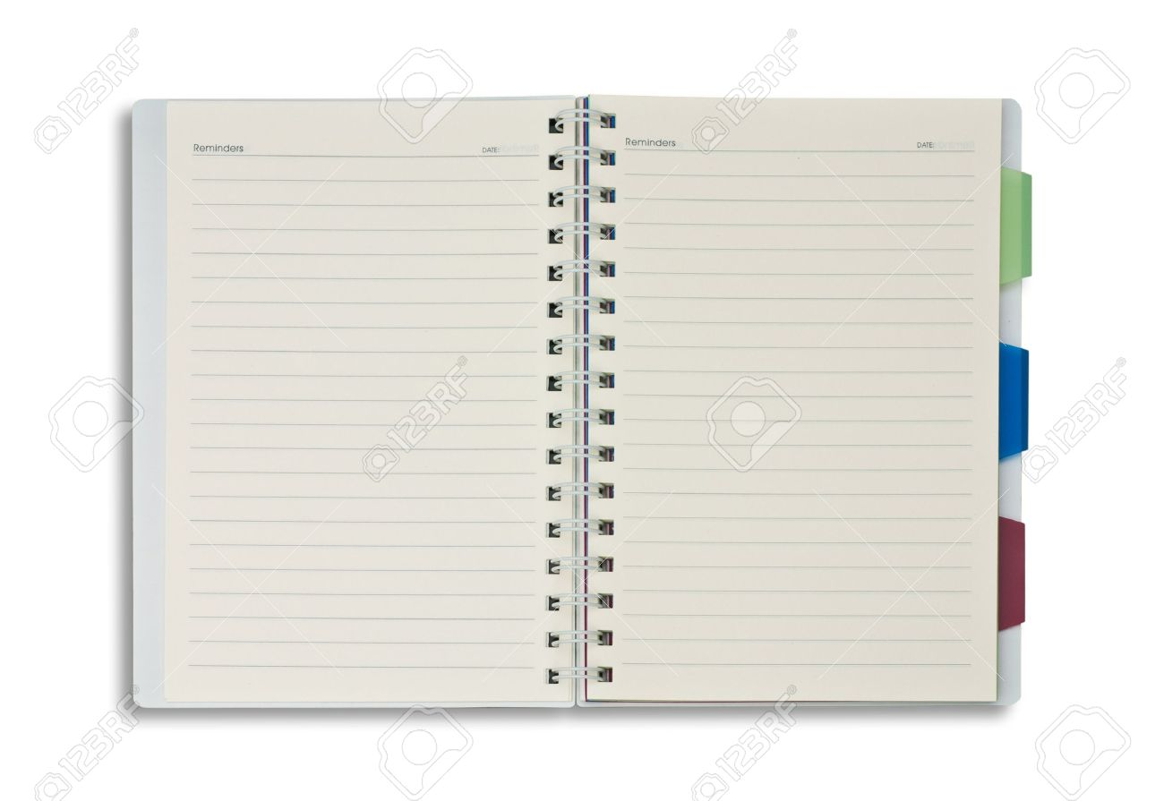 Open Spiral Notebook blank open notepad isolated on