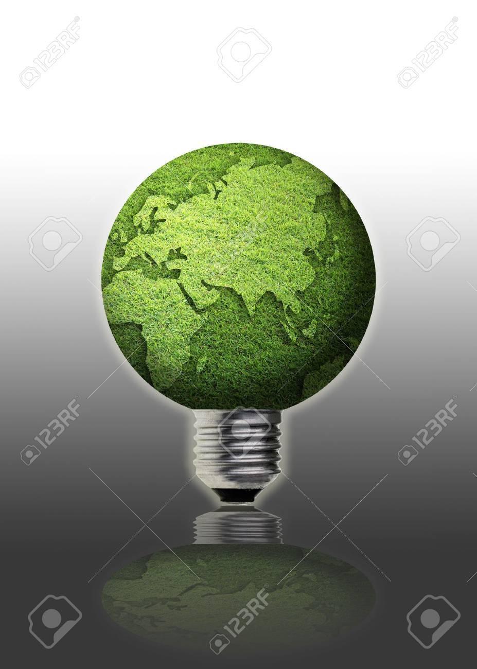 art work of grass globe with light bulb. Stock Photo - 10035159