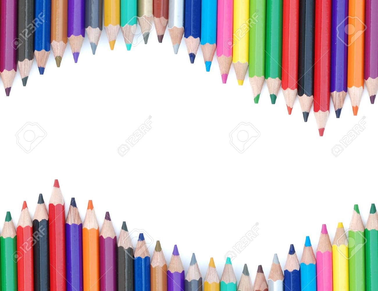 abstract background from row of color pencil on white. Stock Photo - 10058509